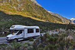 Motorhome / campervan parking at Monkey Creek on Milford Road to Milford Sound stock image