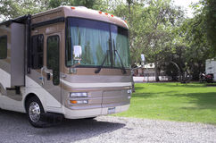 Motorhome in Campground Stock Photos