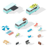 Motorhome and camping accessories isometric icons set Stock Photo