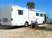 Motorhome camping on beach Royalty Free Stock Photography