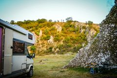 Motorhome camping in Dobrogea gorges, Romania. Wild camping with motorhome on Dobrogea gorges, Romania Stock Photos