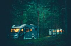 Motorhome Camping in a Wild Stock Photos