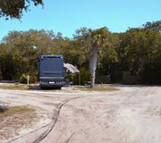Motorhome in campsite Royalty Free Stock Image