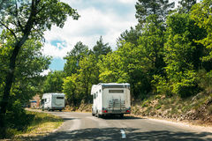 Motorhome Car Goes On Road On Background Of French Mountain Natu Stock Photos