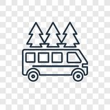 Motorhome concept vector linear icon isolated on transparent background, Motorhome concept transparency logo in outline style stock illustration