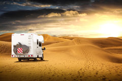 Motorhome in the desert Royalty Free Stock Photography