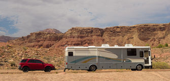 A motorhome in the desert at glen canyon Royalty Free Stock Photo