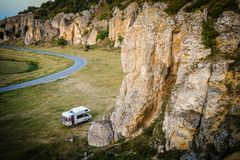 Motorhome in Dobrogea gorges, Romania. Wild camping with motorhome on Dobrogea gorges, Romania Stock Images