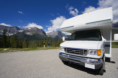 Motorhome front view and wide angle Stock Image