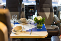 Motorhome. Interior of a Motorhome,dining table Royalty Free Stock Image