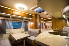 Motorhome. Interior of a Motorhome,wide-angle shot Royalty Free Stock Image