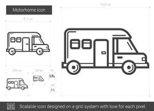 Motorhome line icon. Motorhome vector line icon isolated on white background. Motorhome line icon for infographic, website or app. Scalable icon designed on a Stock Photo