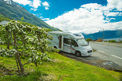 Motorhome in Lofthus, Hardangerfjord, Norway Royalty Free Stock Photos
