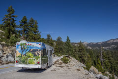 Motorhome on a mountain pass in Yosemite Royalty Free Stock Images