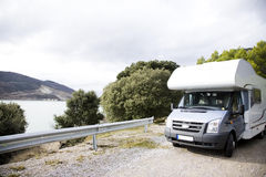 Motorhome Near The Lake Stock Image