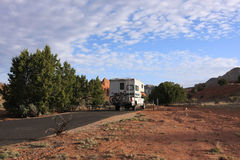 Motorhome parked in the camping Stock Photos