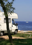 Motorhome parked at see Stock Photo