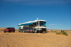 A motorhome parked on the shores of lake powell Stock Images