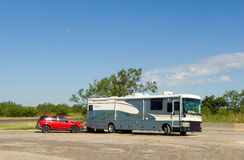 A motorhome at a rest stop Royalty Free Stock Images