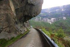 Motorhome rides on mountain serpentine Royalty Free Stock Image