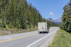 Motorhome on a Road in Jasper National Park - Canada Stock Photography