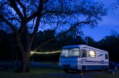 Motorhome RV at Night Campsite stock images