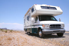 Motorhome RV Out West. Roadside in the American West, between Nevada and Arizona Stock Photo