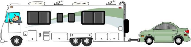 Motorhome som bogserar en bil royaltyfri illustrationer
