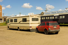 A motorhome at the start of the alaska highway Royalty Free Stock Image