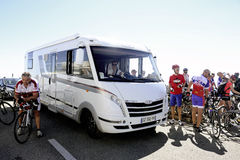 Motorhome at the summit of Mont Ventoux Royalty Free Stock Photography