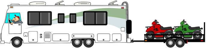 Motorhome towing ATV's. This illustration depicts a Class A motorhome towing a trailer with 3 ATV's Royalty Free Stock Photos