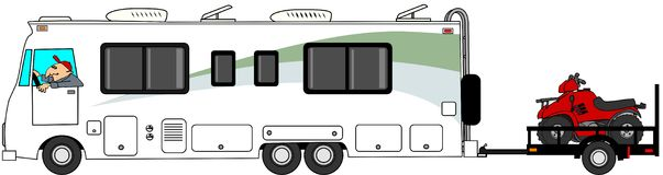 Motorhome towing ATV trailer. This illustration depicts a Class A motorhome towing a utility trailer with 2 ATV's Stock Image