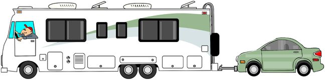 Motorhome towing a car. This illustration depicts a Class A motorhome towing an automobile Royalty Free Stock Photos