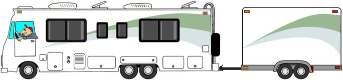 Motorhome towing cargo trailer. This illustration depicts a Class A motorhome towing a matching enclosed cargo trailer Royalty Free Stock Photography