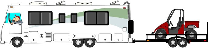 Motorhome towing a UTV. This illustration depicts a Class A motorhome towing a trailer with a red side by side UTV Stock Photos