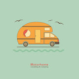Motorhome travel and camping. House on wheels on a turquoise background. Mobile van Royalty Free Stock Image