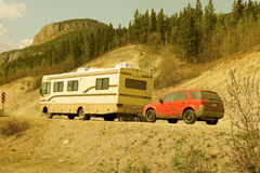 A motorhome traveling along the top of the world highway Stock Image