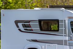 Motorhome on uk motorway in fast motion.  royalty free stock images