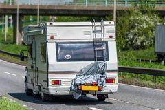 Motorhome on uk motorway in fast motion.  stock photography