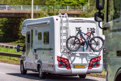 Motorhome on uk motorway in fast motion.  stock image