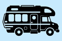 MotorHome. Vector illustration silhouette, a caravan and a motorhome Stock Image