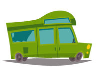 Motorhome vector. Trailer, caravan mobil home for family trip. Bus for tourism, summer holiday. Cartoon style illustration, isolated on white background Royalty Free Stock Photos