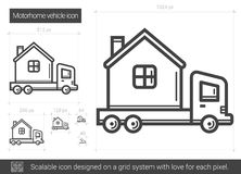 Motorhome vehicle line icon. Motorhome vehicle vector line icon isolated on white background. Motorhome vehicle line icon for infographic, website or app Stock Photo