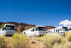 Motorhomes. Recreational vehicles in a campground in the southwest Stock Photography