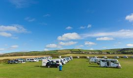 Motorhomes and campervans parked on a camping site Royalty Free Stock Images
