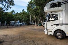 Motorhomes at campsite Royalty Free Stock Image