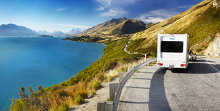 Motorhomes Mountain Road. Campervan on mountain road. Motorhomes Maui, New Zealand Stock Photos