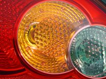 Motoring travel road rear car lamps Royalty Free Stock Photo