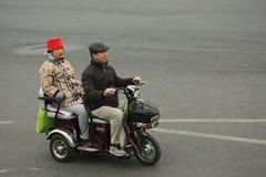 Motorini cinesi dei ciclomotori, Pechino, Cina Fotografie Stock Libere da Diritti