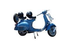 Motorino blu dell'annata (percorso incluso) Fotografia Stock Libera da Diritti
